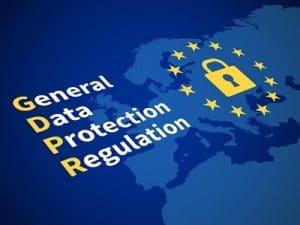 Gdpr general data protection regulation. Eu computer safeguard regulations and data encryption vector concept. Illustration of control access, encryption legislation and protect privacy